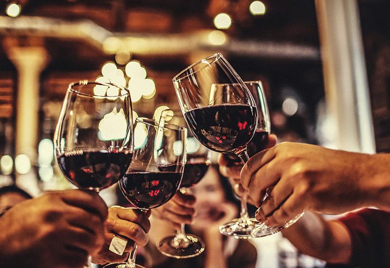 Red wine glass toast