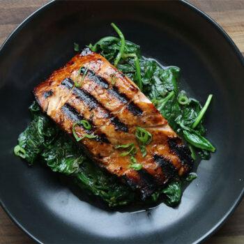 Teriyaki Salmon with Spinach