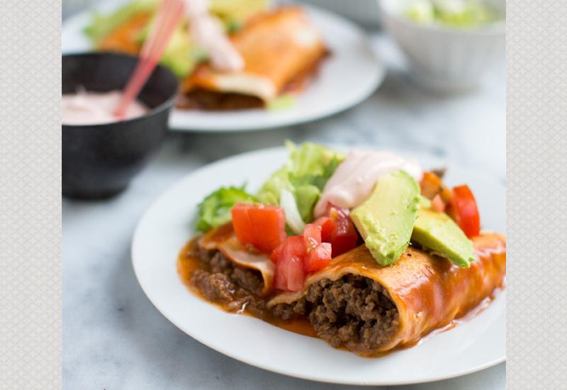 Enchiladas on a White Plate