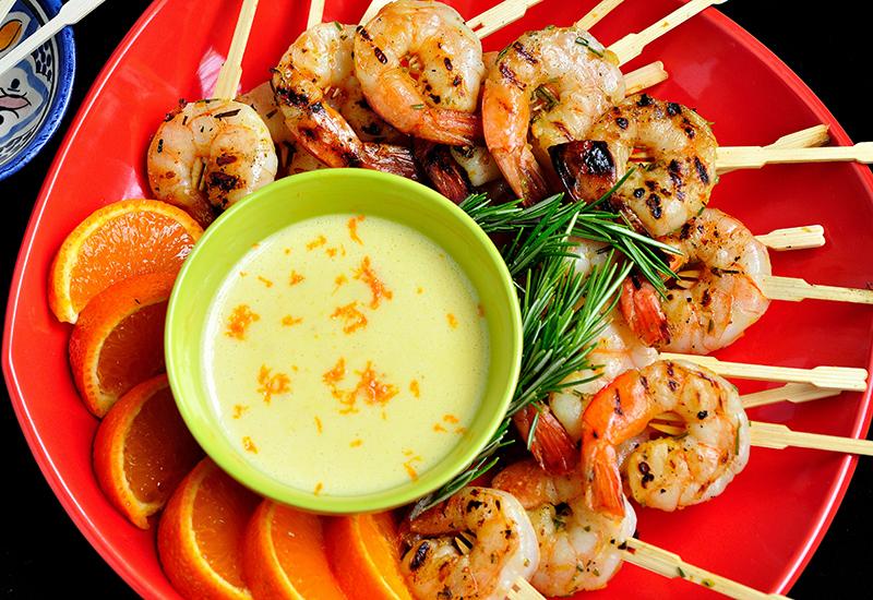 Grilled Rosemary Shrimp with Orange Aioli