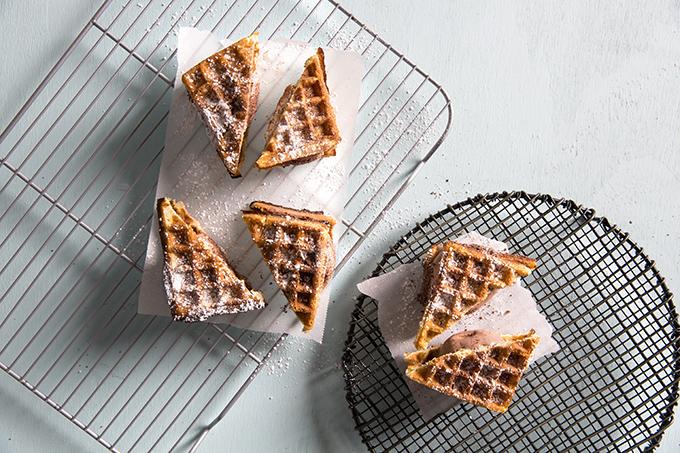 Waffle Ice Cream Sandwich Overhead