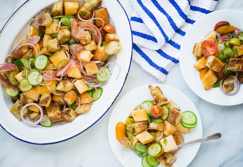 Kiss Melon Prosciutto Panzanella Salad