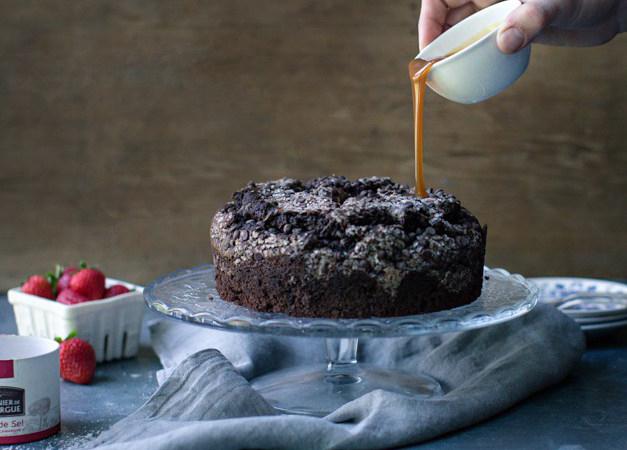 Chocolate Chip Coffee Cake with Caramel