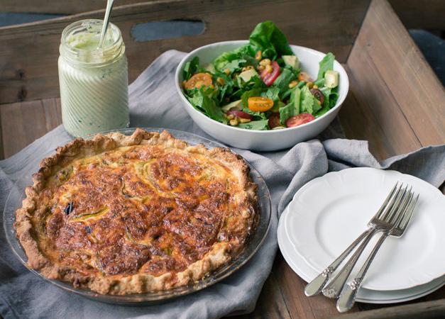 Hatch Chili Pancetta Quiche and Salad