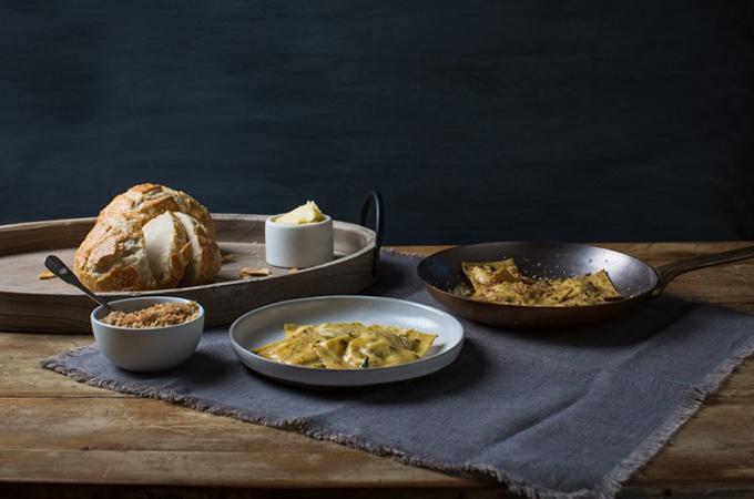 Homemade Ravioli with Oregano Breadcrumbs
