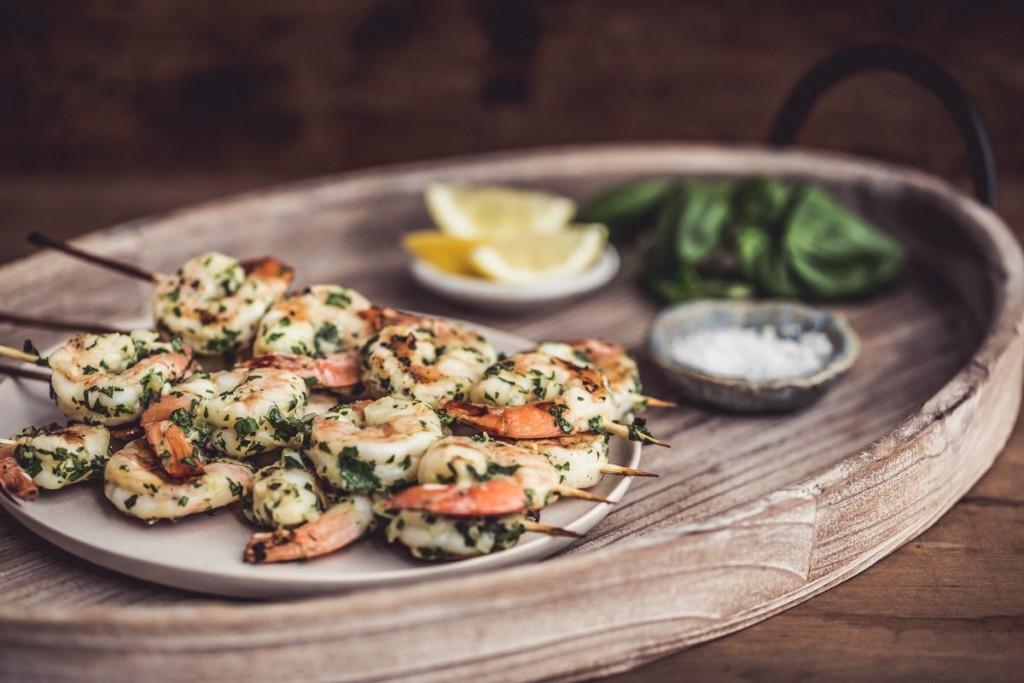Herb marinated grilled shrimp