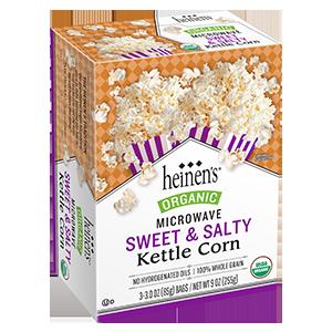 Heinen's organic sweet and salty microwave popcorn