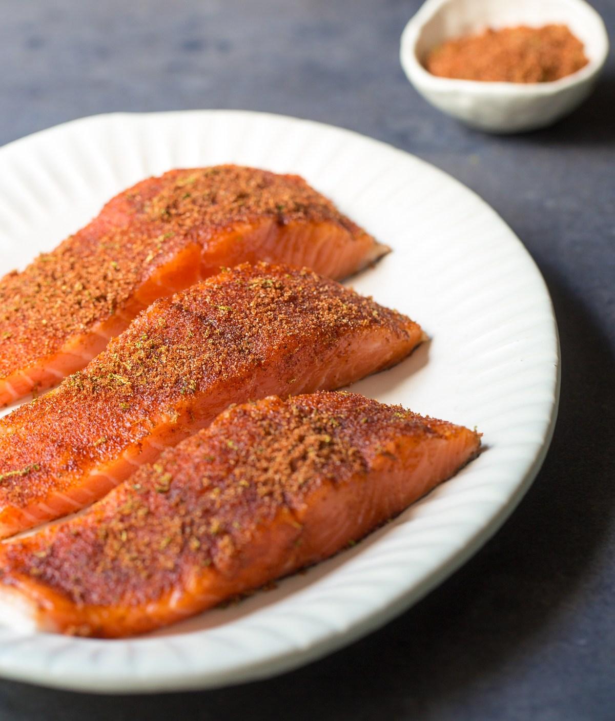 Seasoned Salmon on a Plate