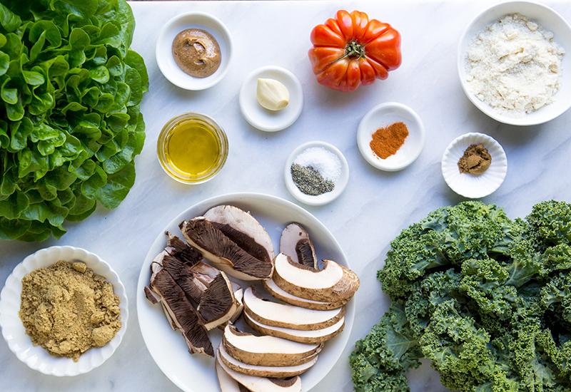 ingredients for Mushroom Kale Burger