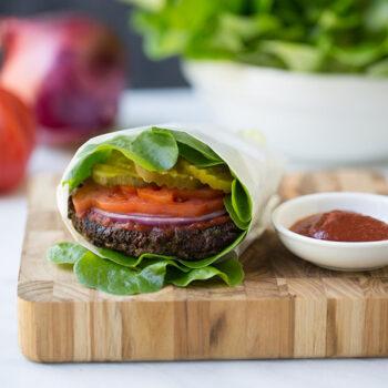 Mushroom Burger in a Lettuce Wrap