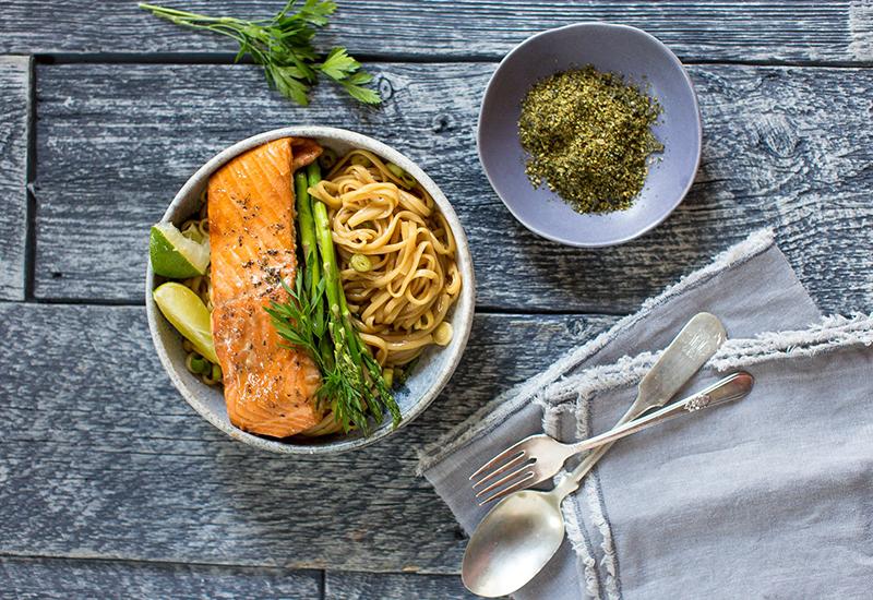 Salmon Sesame Noodle Bowls