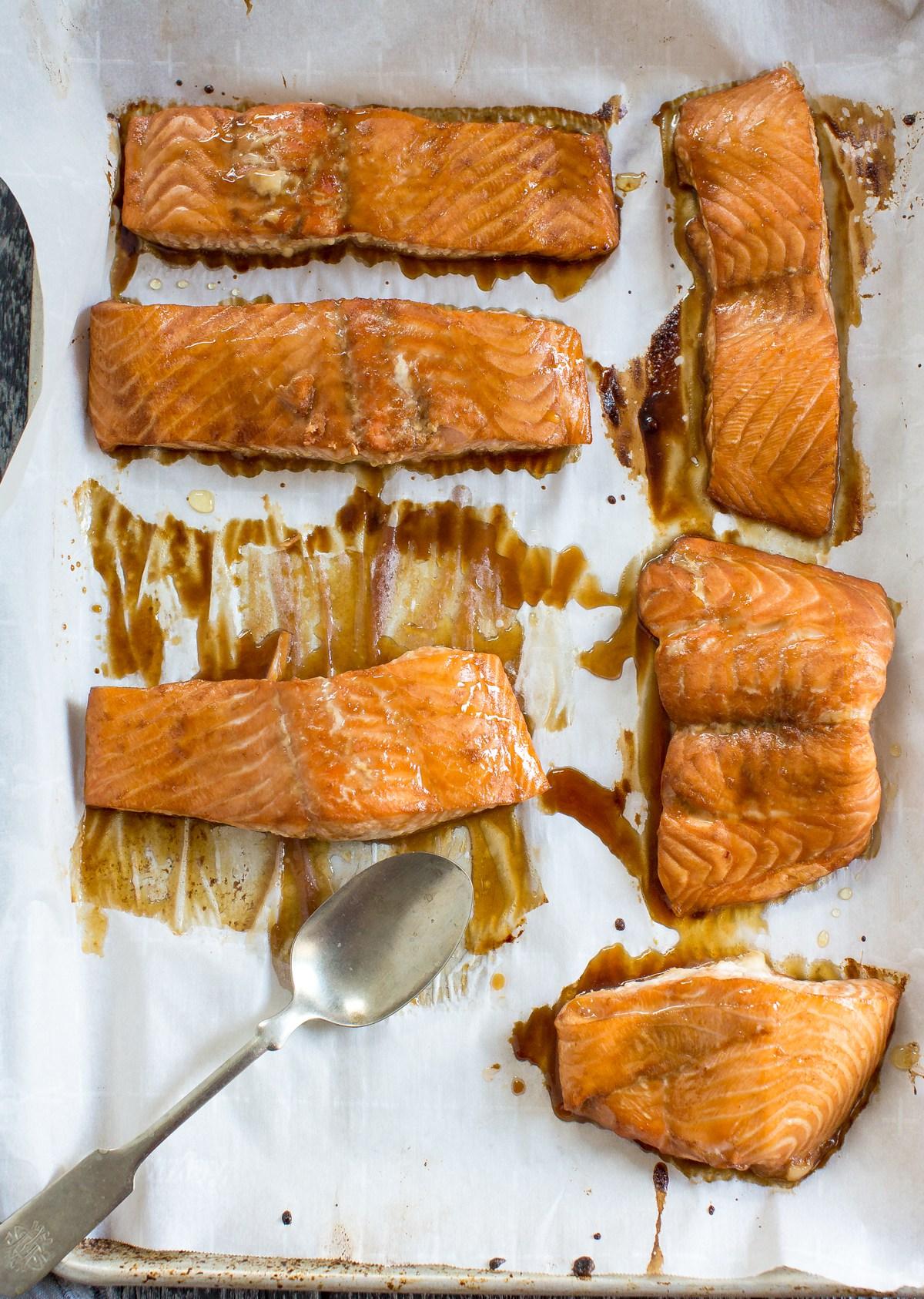 Marinated Salmon on a Baking Tray