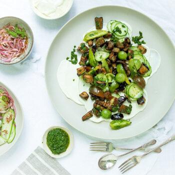 Fried Eggplant Salad on a Plate