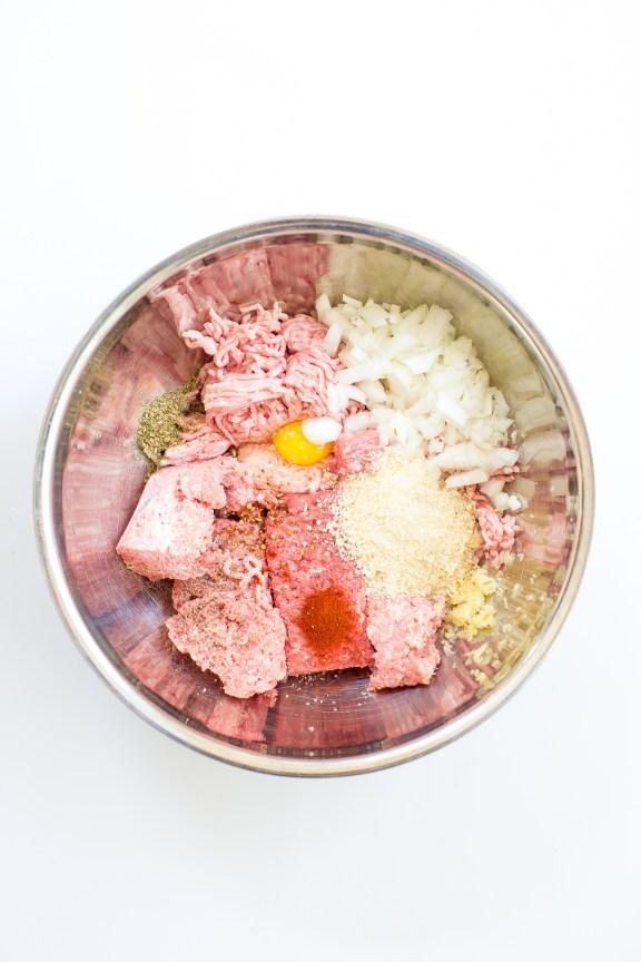 Heinen's Mushroom Meatloaf Ingredients in a Bowl