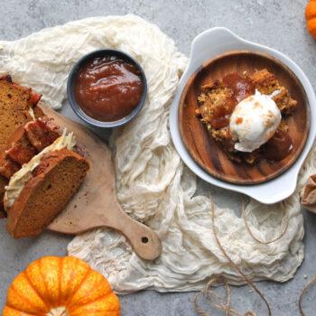 Pumpkin Bread Breakfast Sandwich and Bread Pudding
