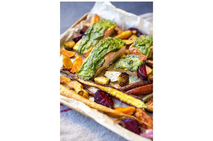 Roasted Vegetables and Sage Pesto Baked Salmon