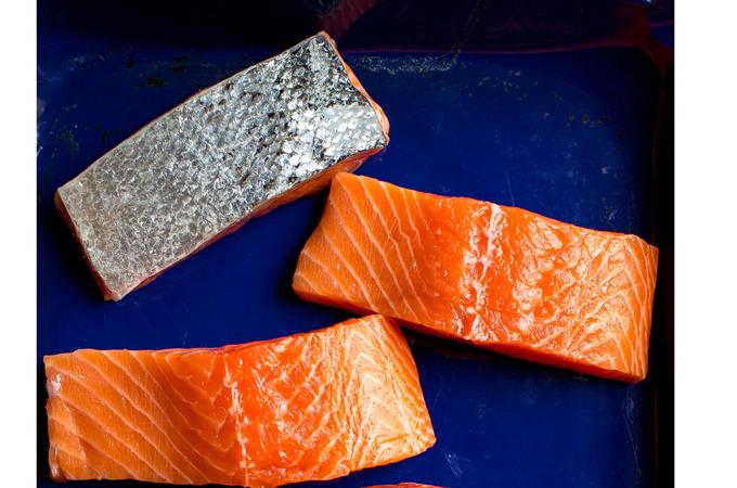 Filets of Raw Salmon