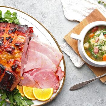 Sweet Honey-Pineapple Glazed Ham and Ham and Bean Soup