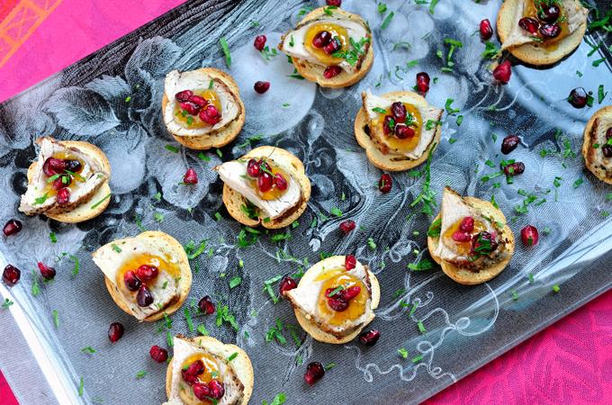Crostini with Pork Tenderloin, Chutney and Pomegranate