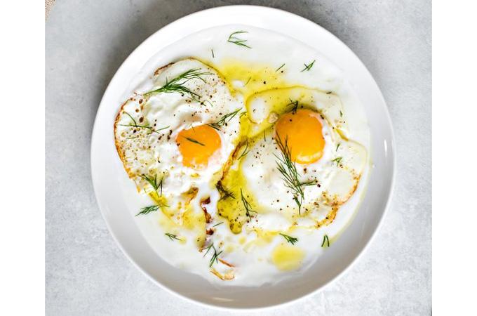 Virgin Olive Oil Fried Eggs with Lemon Yogurt