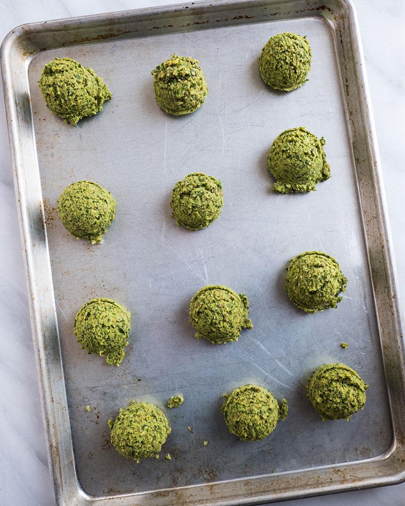 Balls of Falafel on a pan