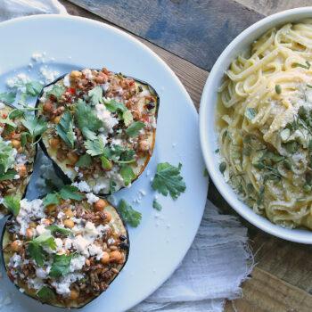 Mediterranean Stuffed Acorn Squash and Squash Pasta