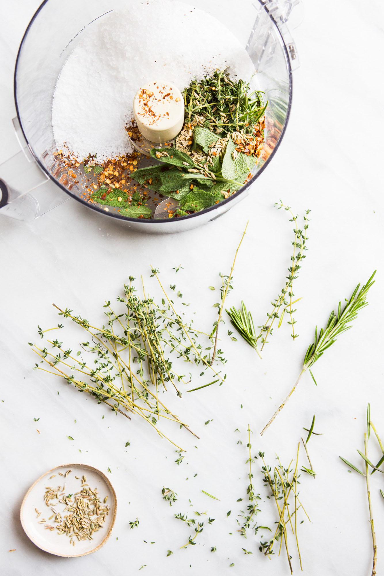 Lamb Herb Rub in Food Processor