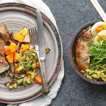 Roasted Balsamic Pork Tenderloin and Ramen Noodle Bowl