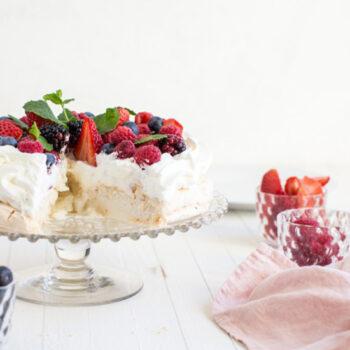 Pavlova cake on a serving dish