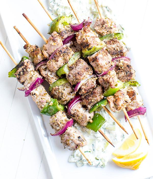 Greek-Style Pork Kebabs
