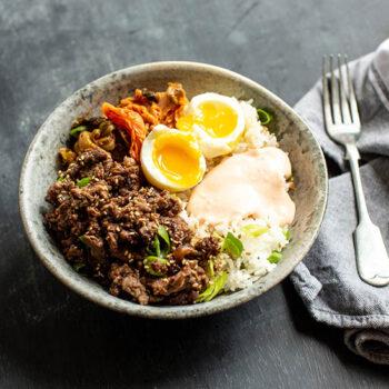 Korean Bulgogi BBQ Steak and Rice Bowls