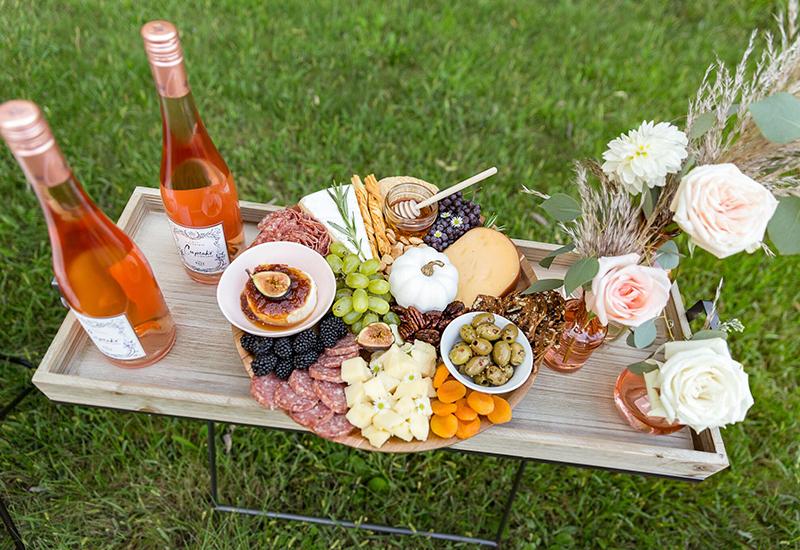 Fall Cheese Board with Cupcake wine