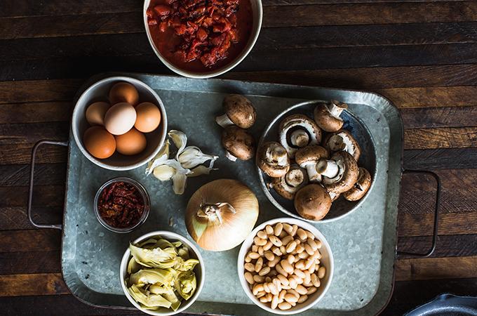 Meatless White Bean Skillet Ingredients in Bowls