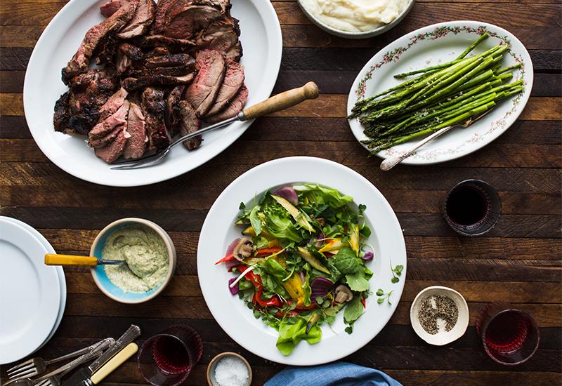 Tenderloin, Asparagus, and Salad