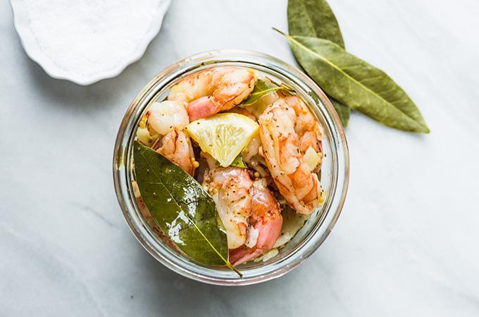 Pickled Shrimp in Jar, Overhead Shot