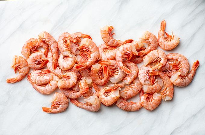 Raw shrimp on marble