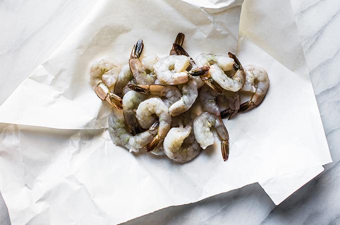 Raw Shrimp on Paper