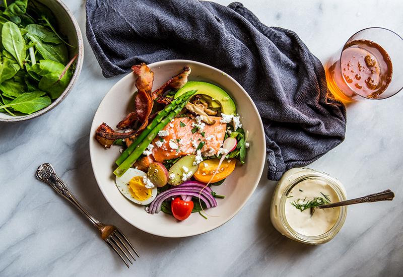 Salmon Cob Salad in Bowl