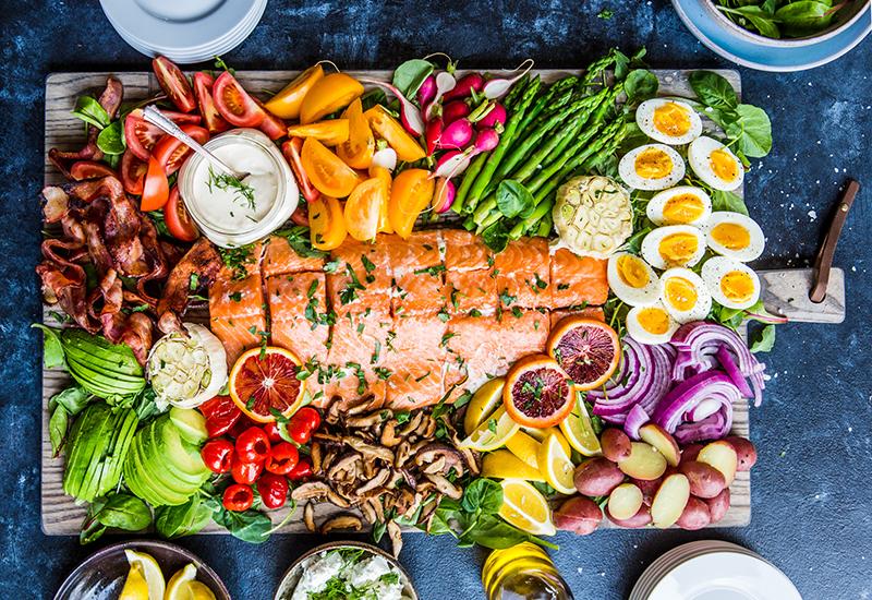 Salmon Cobb Salad Board