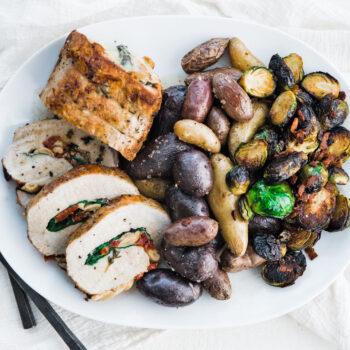 Stuffed Boneless Pork Loin Roast with Roasted Vegetables