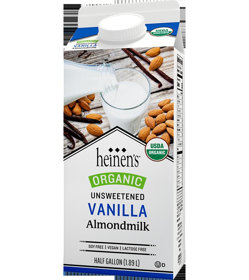 Heinen's organic unsweetened vanilla almond milk