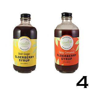 Health Junkie elderberry syrup bottles