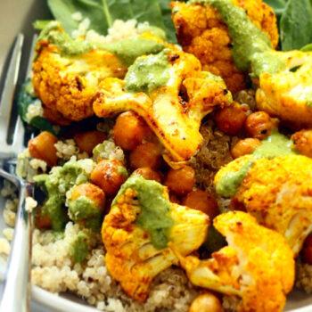 Roasted Cauliflower on Quinoa Salad