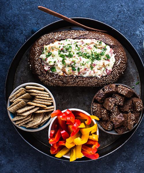 Corned Beef Reuben Dip on Rye Loaf