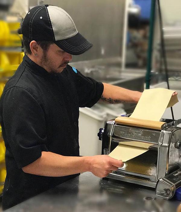 Flour Pasta Company Associate making pasta