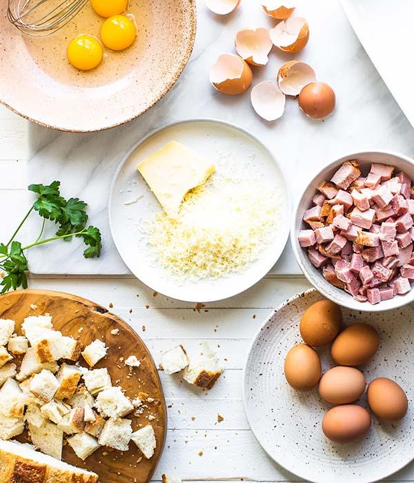 Ingredients for Easter Ham Strata