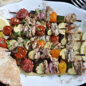 Pork Kebabs on a White Plate
