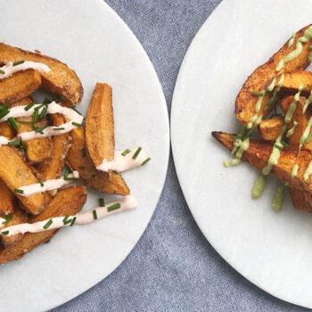 Fries on White Plates