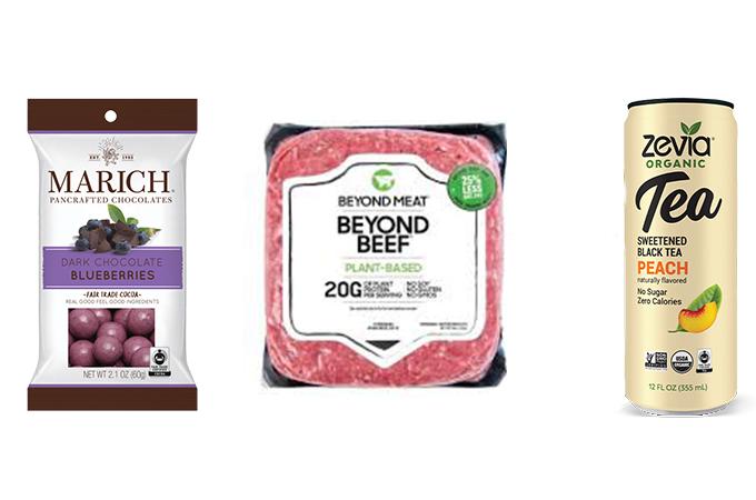 New Product Roundup - Marich Dark Chocolate Blueberries, Beyond Meat Ground Beef, Zevia Organic Tea