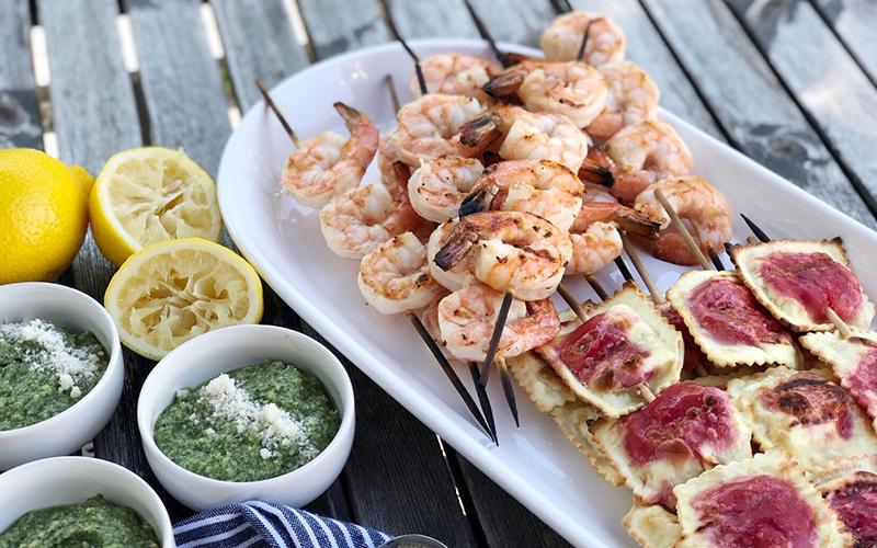 Grilled Shrimp, Ravioli & Pesto